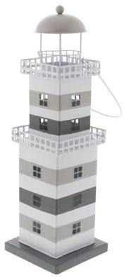 DecMode Decmode Coastal 16 Inch Metal Lighthouse Candle Lantern, Gray