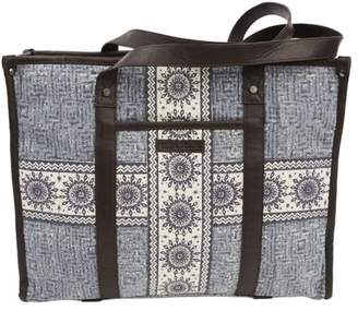 Ashton & Willow Denim Blue Bohemian Handbags Kendall Market Tote Cotton Distressed Appearance Pewter Hardware Canvas Floral / Flower Tote
