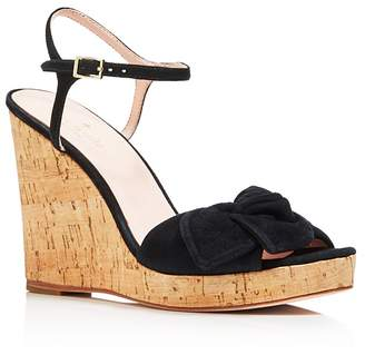 Kate Spade Women's Janae Suede Knotted Platform Wedge Sandals
