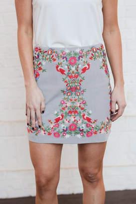 Umgee USA Floral Embroidered Skirt