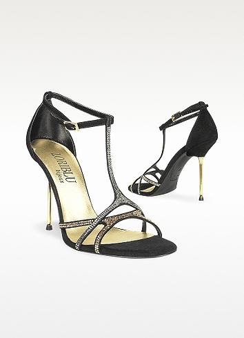 Loriblu Crystal T-strap Black Suede Evening Sandal