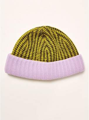 322ca1e4e25 Topman Mens Multi Neon Yellow And Lilac Docker Beanie