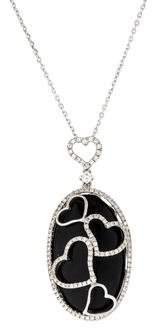 Diamond Heart & Onyx Pendant Necklace