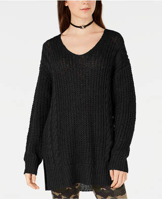 Hooked Up by Iot Juniors' Criss-Cross Back Sweater