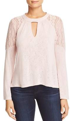 Red Haute Lace-Shoulder Keyhole Top