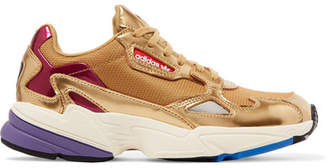 adidas Falcon Metallic Mesh And Faux Leather Sneakers - Gold