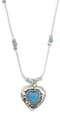 Made In Israel Sterling Silver And Opal Heart Necklace