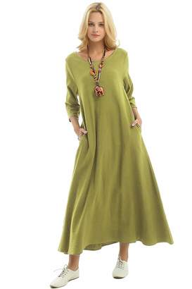 f6e7f7c7cd at Amazon Canada · Anysize Three Quarter Sleeve Linen Cotton Spring Summer  Plus Size Dress F140A