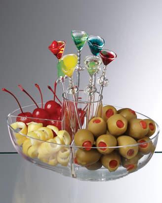 Prodyne Martini Mate Garnish Bowl With Six Colorful Picks