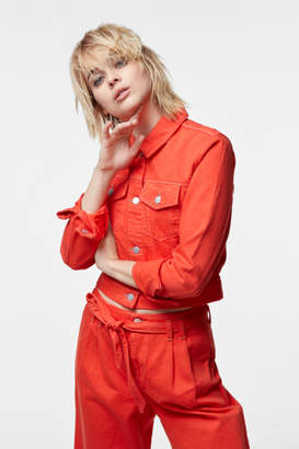 J Brand Faye Cropped Jacket In Bright Coral