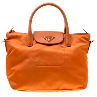 Prada saffiano Orange Cloth Handbag