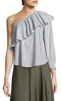 Apiece Apart Bergamot Cuff Ruffle One Shoulder Top $255 thestylecure.com