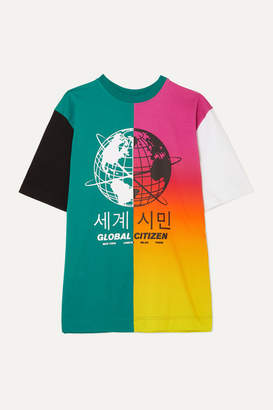 House of Holland Oversized Paneled Printed Cotton-blend Jersey T-shirt - Green