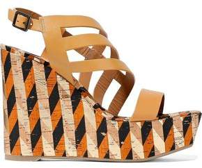Castaner Veronica Cutout Leather And Printed Cork Wedge Sandals