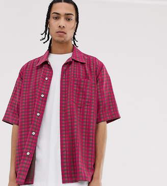 Noak oversized check seersucker shirt in pink