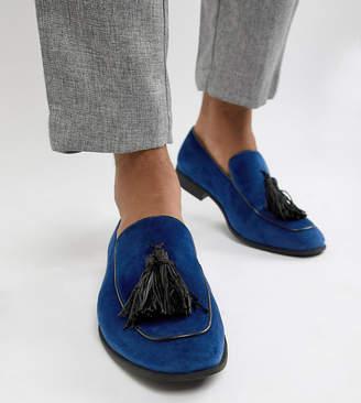 Asos Design DESIGN Wide Fit loafers in navy velvet with tassel detail