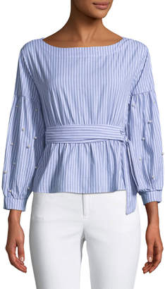 Allison New York Pearly-Sleeve Striped Tie-Waist Blouse