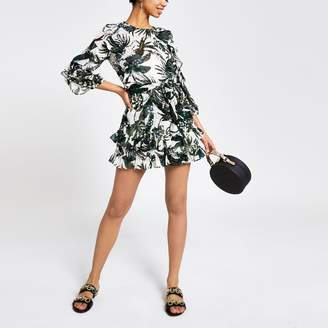 River Island Womens Green palm print sequin playsuit