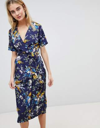 Warehouse Trailing Floral Pleated Midi Wrap Dress