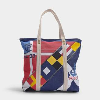 Polo Ralph Lauren Large Pp Tote Scarf Print In Multicolour Print Canvas