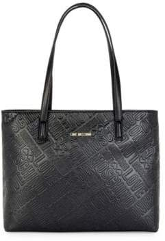 Love Moschino Embossed Logo Faux Leather Tote Bag
