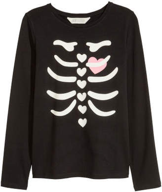 H&M Jersey Top with Printed Design - Black