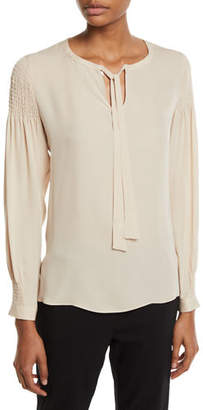 19e68d78832bf Kobi Halperin Julee Tie-Neck Long-Sleeve Silk Blouse w  Smocking Details