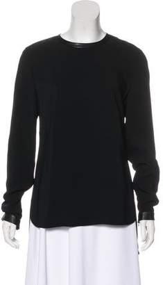 Ralph Lauren Leather-Trimmed Long Sleeve Top