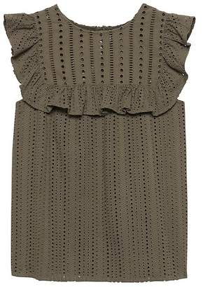 Banana Republic Petite Eyelet Ruffle Top