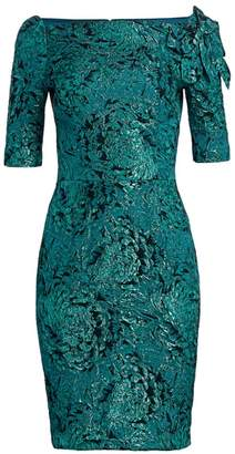 Teri Jon By Rickie Freeman Floral Applique Metallic Jacquard Dress