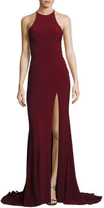 Faviana Sleeveless Open-Back Crepe Gown