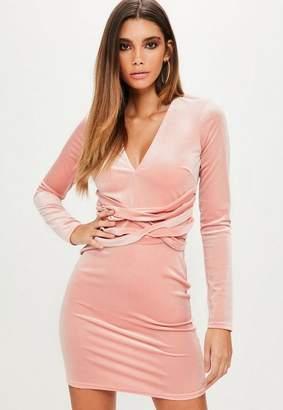 Missguided Pink Velvet Plunge Long sleeve Bodycon Dress