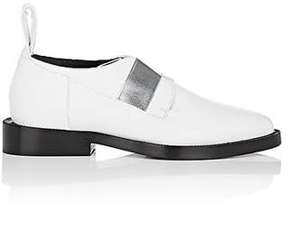 Paco Rabanne WOMEN'S ELASTIC-BAND LEATHER OXFORDS - OPTIC WHITE SIZE 10