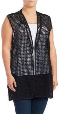 Joan Vass Plus Open-Front Lace Vest