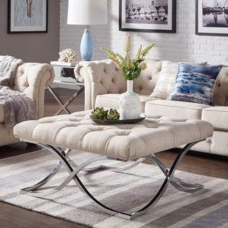 Weston Home Libby Button Tufted Cushion Ottoman Coffee Table with Chrome Metal X-Base, Multiple Colors