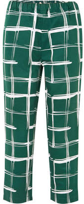 Marni - Printed Cotton And Flax-blend Slim-leg Pants - Green