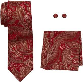 Landisun Paisleys Mens Silk Tie Set: Necktie+Hanky+Cufflinks