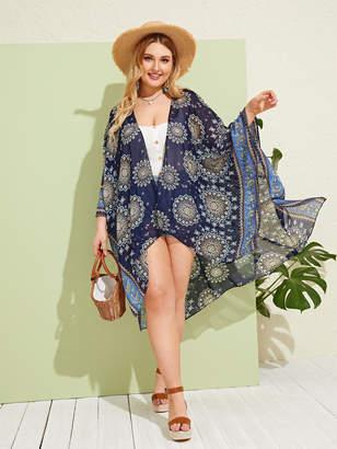 Shein Plus Tribal Print Sheer Kimono