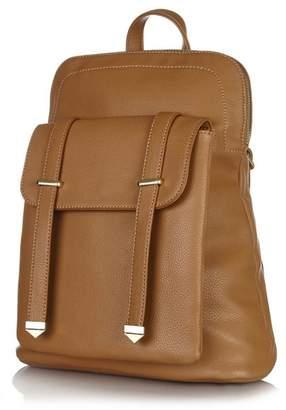 Yumi Tan Front Pocket Strap Backpack
