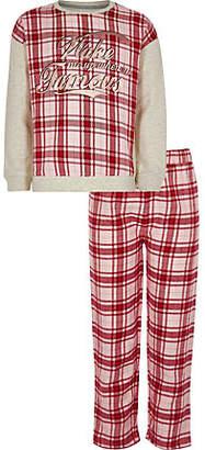 River Island Girls red 'wake me up' check pajama set