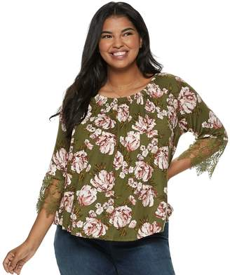 1246cd4e54163 Juniors  Plus Size Liberty Love Lace-Sleeve Top