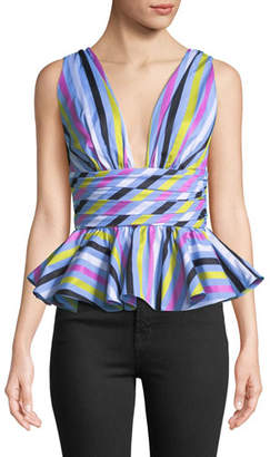 Caroline Constas Paros Striped Sleeveless Peplum Top