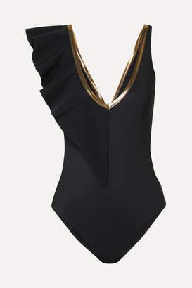 Zeus+Dione ZeusDione - Metallic-trimmed Ruffled Cutout Swimsuit - Black