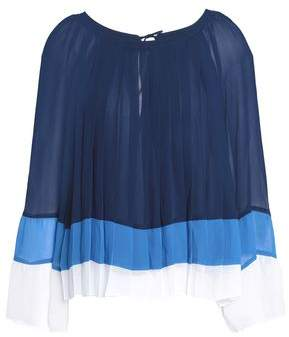 Joie Anahira Pleated Color-Block Georgette Blouse