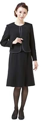 (モノワール) MONOIR 喪服 レディース 礼服 小さいサイズ 小さめ 身長150cm ブラックフォーマル アンサンブル ワンピース オールシーズン FX8P070A 7号 ブラック 濃染加工