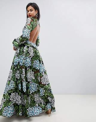 Asos Edition EDITION embroidered maxi with blouson sleeve & open back