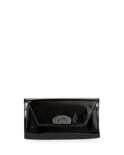 Christian Louboutin Vero Dodat Flap Patent Clutch Bag, Black