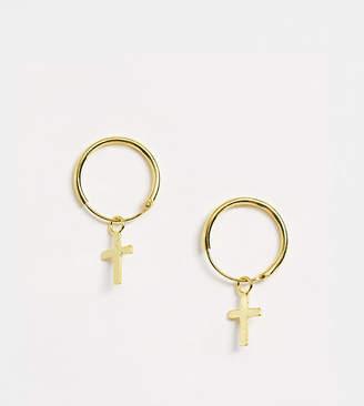 Silver Cross Kingsley Ryan gold plated sterling drop hoop earrings