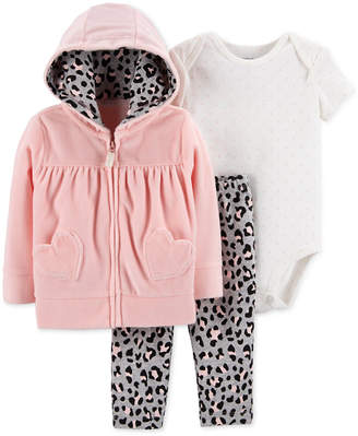 Carter's Baby Girls 3-Pc. Hearts Hoodie, Bodysuit & Pants Set