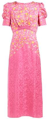Saloni Bianca Floral Embroidered Silk Dress - Womens - Pink Multi